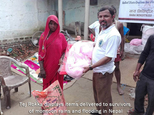 Tej Rokka delivers aid in Nepal